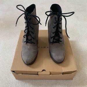 Zara Grey Platform Boots